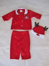 3-6 Mo Baby Girl Red 3 Piece Reindeer Holiday Outfit