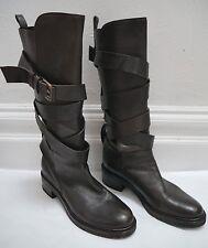 SARTORE dark brown leather wrap around strap knee high boots size 39.5