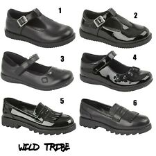 Niños Niñas Negro plano volver a la escuela Mary Jane Negro Zapatos Mocasines Dolly T-Bar