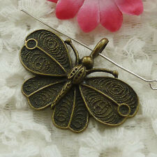 Free Ship 48 pieces bronze plated butterfly pendant 42x32mm #1286