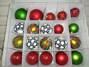 Frontgate Grandinroad Glad Tidings 20 Piece Ornament Set Glitter Blown Glass