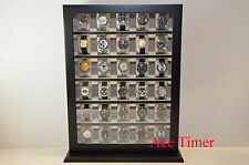 30 Watch Black Lacquer Stand Wall Display Storage Case Fit up to 65mm + Gift