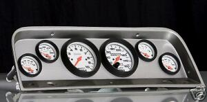 64-66 Chevy Truck Brush. Alum. Dash w/ Phantom Gauges