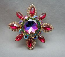 "VTG Juliana? Flower Brooch Huge Watermelon Rhinestone 2.75"" AB Red Gold Plated"