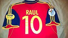 Spain Raul #10 Eurocup 1999-01 Adidas Soccer Football Size L Red Short Sleeve