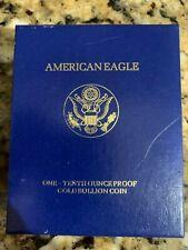 1990 PROOF US Mint 90% 1/10 oz GOLD American Eagle COIN ORIGINAL MINT BOX & COA