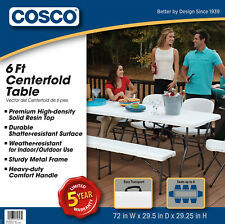 6 Foot Portable Office Centerfold Folding Table Cosco Plastic Home Party White