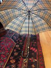 Vintage Burberry London Burberry Umbrella With Black Wood Handle - EUC