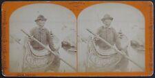 "STEREOVIEW ""RAPIDS PILOT"" LAKE SUPERIOR MICHIGAN NATIVE AMERICAN CA 1875"