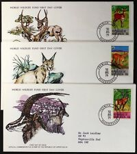Z140 UPPER VOLTA 1979 WWF set of 3 FDC, Waterbuck, Felids Caracal, Roan Antelope