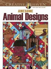 Dover Creative Haven AWESOME ANIMAL DESIGNS Adult Coloring Book New c2012*