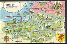 Maps Postcard - Map of Somerset & Parts of Avon  RS1576