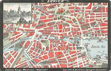 ZURICH SWITZERLAND STREET MAP & TOWN VIEW TRAIN DEPOT POSTCARD (c. 1910)