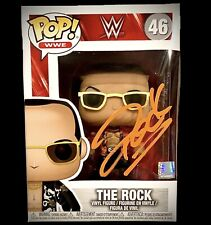 WWE THE ROCK HAND SIGNED AUTOGRAPHED FUNKO POP #46 TOY WITH GAI COA VERY RARE