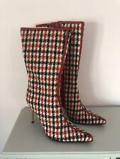 DOLCE GABBANA RED WHITE Heel Zippers Knee- Boots Sz EU 35.5 US  5.5