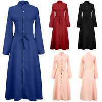UK Fashion Women Long Sleeve Button Dowm Maxi Dress Evening Party Shirt Dress