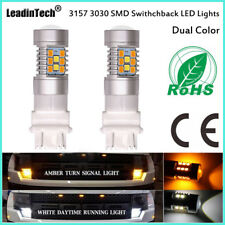 3157 3030 Switchback Dual Color White Amber Turn Signal Light Parking Lamp DRL