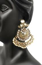 Chandbali Pearl Kundan Jhumka Earrings Fashion Jewellery Traditional Gold color