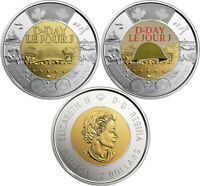 Set of Two Coins: Colored + Non-Colored Mint Canada Toonies, D-Day, UNC, 2019
