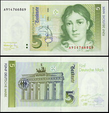 Germany Federal Republic Paper Money 5 Marks 1991 P-37 UNC Brandenburg Gate