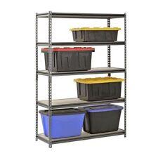 """Muscle Rack 5-Shelf Steel Shelving Silver-Vein 18"""" D x 48"""" W x 72"""" H"""
