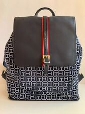 Tommy Hilfiger Logo Designer Large Backpack Shoulder Bag Navy Blue New Gift