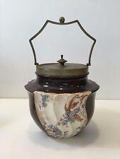 """Antique Doulton Burslem Porcelain Biscuit Barrel, 6"""" Tall x 6 1/2"""" Widest"""