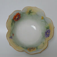 """Vintage Hand painted Pansies Floral Scalloped Bowl Signed JJ Brearly 6"""""""