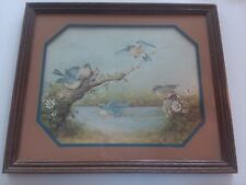 """Vintage """"After A Summer Shower"""" Bluebird Picture, 18X16"""", Margie Morrow, 1983"""
