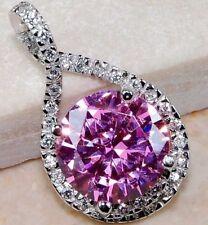 925 Silver Amethyst Gemstone &White Zircron Necklace Pendant Fashion Jewelry