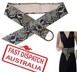 1 Costume Party Boho Cinch Waist Belt Women Ladies Animal Print Snake Skin New