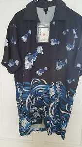 Shirt sleeved fish patterned men's shirt XXL