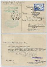 GERMANY 1931 ZEPPELIN POSTCARD 2 RM TO PORTO ALEGRE BRAZIL