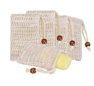 4 Pack Natural Sisal Soap Bag Exfoliating Soap Saver Pouch Holder US