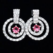 EARRING Cubic Zirconia Crystal Gemstone Stud Silver Simple Red Corundum Round