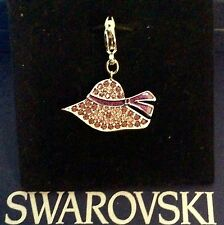GENUINE SWAROVSKI® PAVE CHARM PENDANT W/SIGNED LOBSTER CLASP~RHODIUM SUMMER HAT
