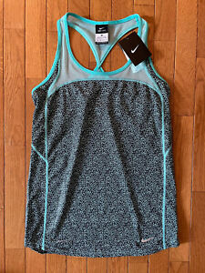 Nike Dri-Fit Black Aqua Women's Tank Top Running Sleeveless Razorback XSmall XS