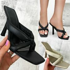 Womens Padded Strappy High Heels Sandals Toe Thong Soft Comfy Fashion Shoes Size