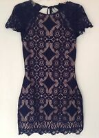 NWT Foxiedox New Genuine Ladies X-Small UK 8 Blue Lace Backless Cocktail Dress