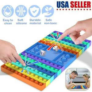 Rainbow Chess Board Toy Big Size Fidget Dice Pop Push it Bubble Sensory Games US