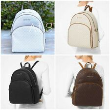 Michael Kors Bags Abbey Large Backpack Logo Vanilla Brown White Black 35F8SAYB7B