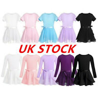 UK Girls Gymnastics Leotard Dress Ballet Unitard+Tutu Wrap Dance Skirt Dancewear