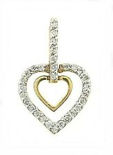Double Hearts Diament Pendant Slide, 0.25 CT 14K White/Yellow Gold NEW