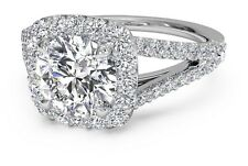 Ritani CUSHION HALO DIAMOND 'V' BAND ENGAGEMENT RING 50% Off