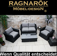 POLY-RATTAN GARTENMÖBEL Lounge Ragnarök-Möbeldesign Sessel + Sofa + Tisch Garten