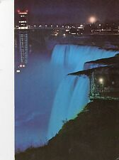 Postcard  Canada Illuminated American Falls showing the Observation tower posted