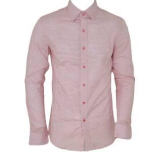 Camicia uomo cotone rosa collo rigido manica lunga motivo astratto rosa basic