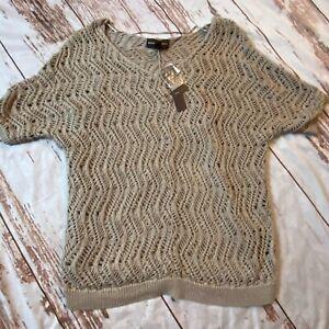 Dana Buchman womens layered short sleeve sweater-beige-Medium-NWT