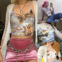 Women Sheer Angel Mesh Crop Tops Sleeveless Camisoles Cupid Printed Sling Vest