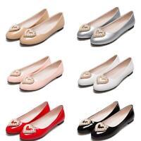 Damen Süß Rund Flach Strass Perlen Lackleder Komfort Gr.31-51 52 Freizeit Schuhe